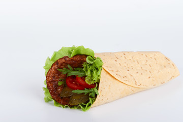 grilled meat in tortilla
