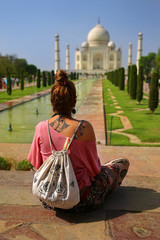 Caucasian woman at Taj Mahal