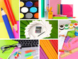 Collage of school and office supplies