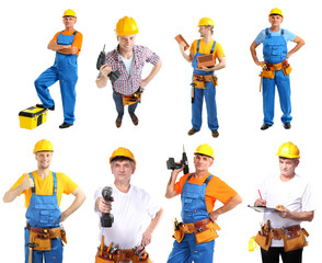 Collage of manual workers isolated on white