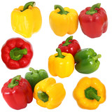 Set red green and yellow sweet  bell pepper isolated on white ba