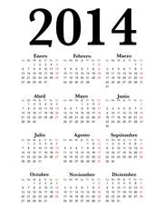 Spanish Calendar 2014 Simple black, vector