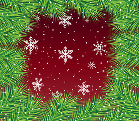 beautiful festive background with spruce branches