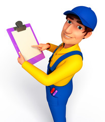 Plumber with notepad