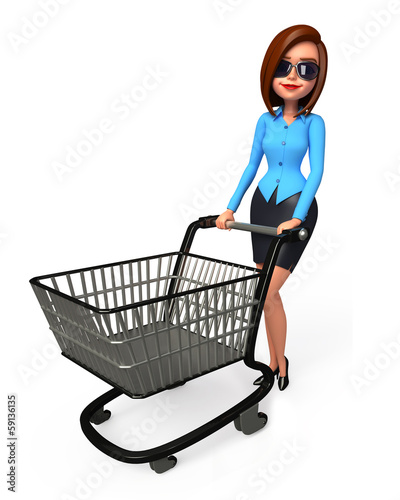 Office smart girl with shopping trolley