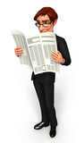 Young Business man with news paper