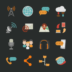Communication icons with black background
