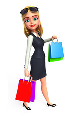 Young business woman walk  with his shopping bags