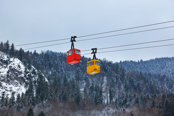 Cable way at mountains ski resort St. Gilgen - Austria