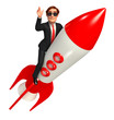 Young smart  Businessman with rocket