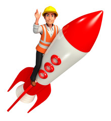 worker  with rocket