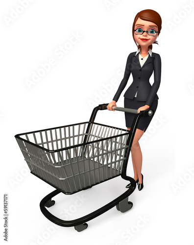 Young business woman walking with his trolley