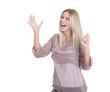 Frau isoliert - lachend und begeistert vor Freude