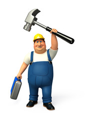 Plumber running which his hammer & tool box