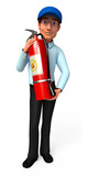Service man with fire extinguisher