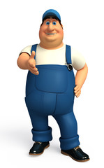 Plumber  with hand shack