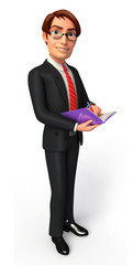 Young Business man with diary
