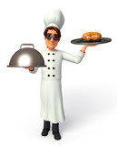 Chef  with cooking pot & Roasted chicken