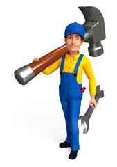Worker with hammer & wrinch