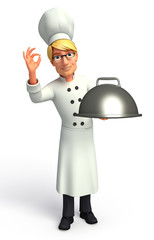 Chef  with cooking pot