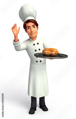 Chef  with chicken dishes