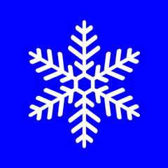 white snowflake on a blue background