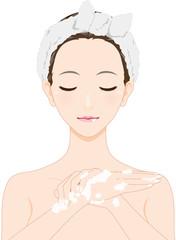 女性 美容 手を洗う