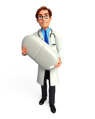 Doctor with big  medicine
