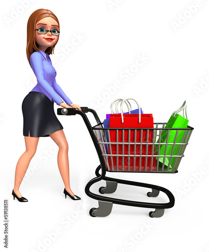 Young Business woman with trolley