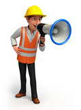 worker man with loudspeaker