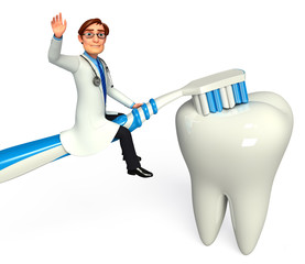 Doctor with tooth and brush