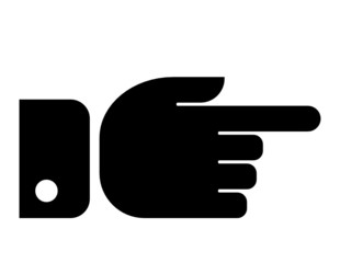 Finger pointing aside vector icon