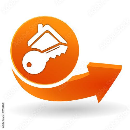 clef de maison sur bouton web orange