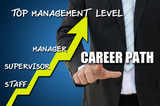 Business hand pointing career path