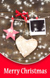 Decorative heart, star and empty photo paper