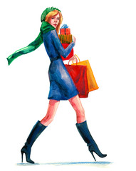 woman with gifts and purchase