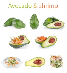set fresh avocado with shrimp