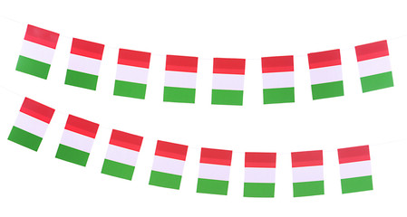 Garland of flags isolated on white