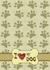 dog paws with place for the text