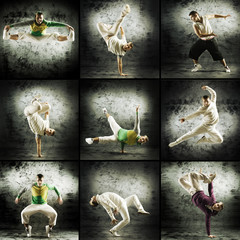 A collage of young and sporty modern male dancers
