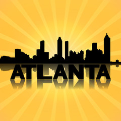 Atlanta skyline reflected with sunburst illustration