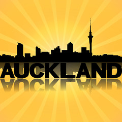 Auckland skyline reflected with sunburst illustration