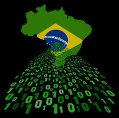 Brazil map flag with green binary code foreground illustration