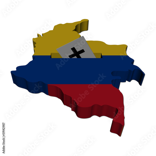 Colombia election map with ballot paper illustration