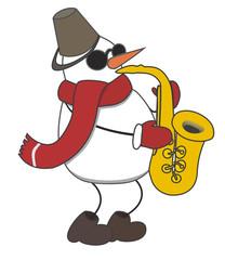 cheerful snowman plays music on saxophone