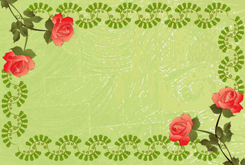 grungy green frame , decorated with pattern and red roses