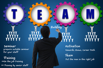 Business man with team building concept