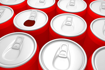 red metal cans, a box is open