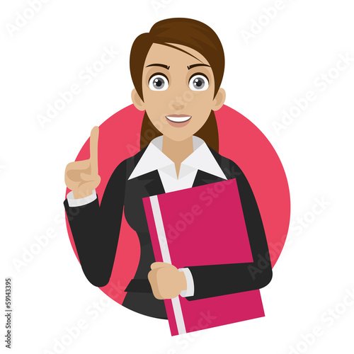 Businesswoman keeps file in circle