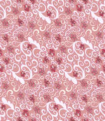seamless pattern with pink bluebells